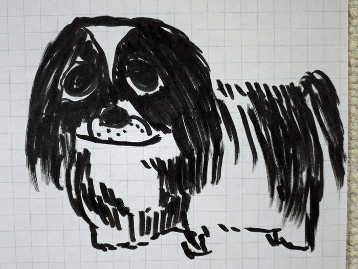 ペキニーズ Blog-白ペキニーズ シロ♂ & 白黒ペキニーズ クロ♀のフォトブログ-2012.1.25.絵